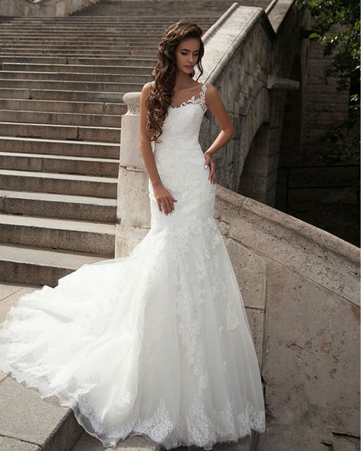 Hot Wedding Dress Transpa High Collar Lace Mermaid Dresses Gowns Y Backless