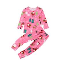 Little Girls Xmas Pajamas Set Newborn Baby Girl Cotton Long Sleeve shirt Tops+Pants Outfits Christmas Pjs Clothes Set 2019