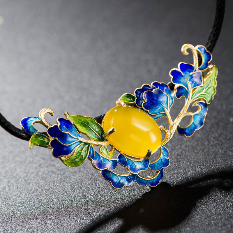 Cloisonne Retro Thai Silver Gilt Enamel Blue S925 Sterling Silver Pendant Female Hollow Peony Natural Yellow