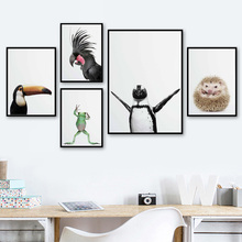 Colorful Parrot Penguin Frog Hedgehog Wall Art Canvas Painting Nordic Posters And Prints Kids Pictures For Living Room Home