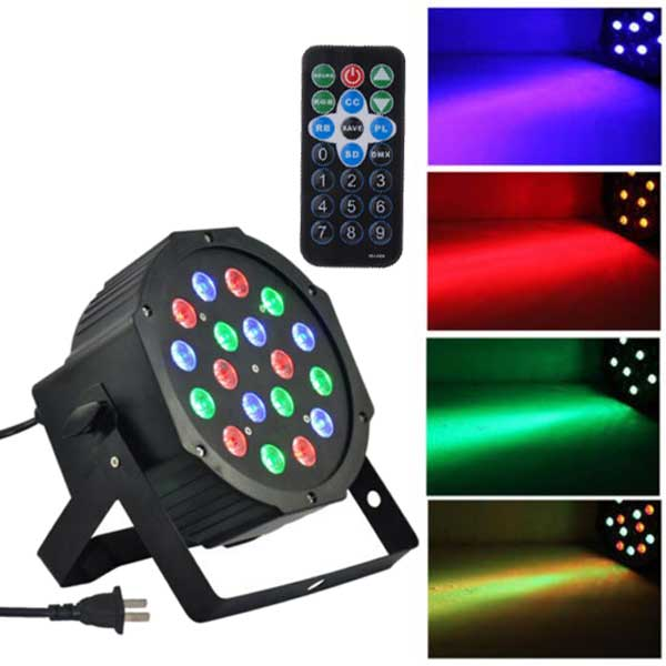 18-LED Red & Green & Blue Stage Light Voice Control Parcan Projector Lamp With Remote Controller Disco DJ Lights - US Stock