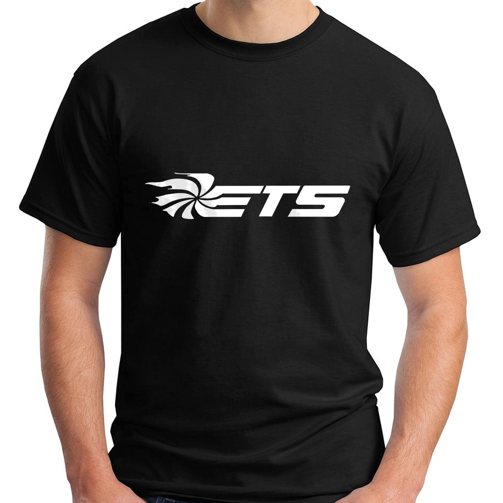 New ETS Extreme Turbo Systems Short Sleeve Black Mens T-shirt Casual Fitness Men T Shirts