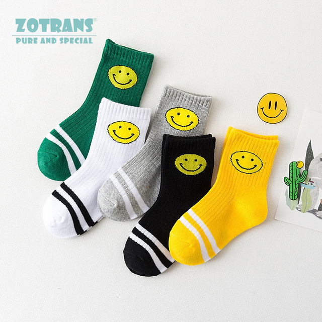 a157f2224c41 5Pairs Kids Socks Summer Sport Socks Stripes Smile Face Cotton Knit Child  Socks Breathable In Socks for Boys and Girls 4-15 Year