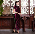 2016 Traditional Chinese Dress Red Cheongsams Vintage Short Sleeve Velour Qipao Long Evening Dress Chinese Clothing Store S-XXXL