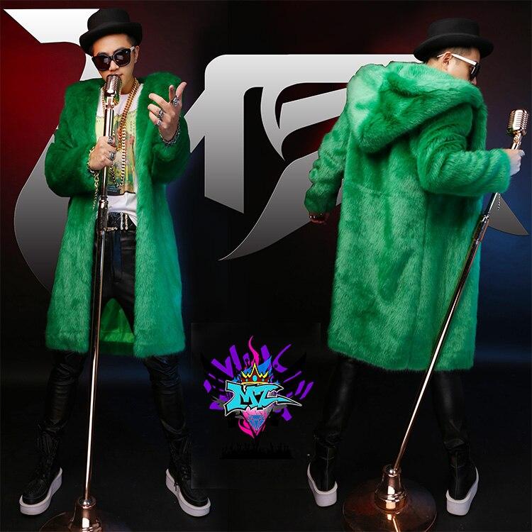 S-5XL ! 2019 Men New Slim DJ Male Singer DJ Rihanna Green High-grade Imitation Fox Fur Long Hooded Costumes Fur Coat Clothing