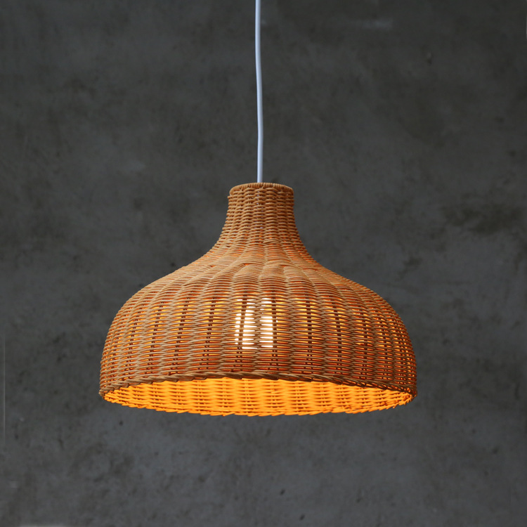 Contemporary Rattan Hanging Pendant Light Country Hand Woven Wicker Drop Home Lighting Pendant Lamp Restaurant Cafe Shop Bar Pendant Light (26)
