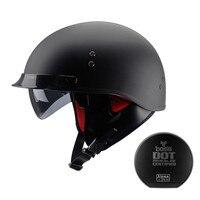 블랙 빈티지 모토 rcycle 헬멧 오픈 페이스 헬멧 DOT 승인 반 헬멧 레트로 모토 casco capacete 모토 ciclistas capacete