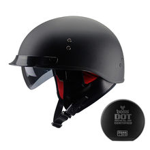 Capacete da motocicleta do vintage preto rosto aberto dot aprovado meio capacete retro moto casco capacete