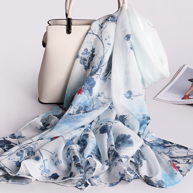 Women 100% Pure Silk Scarf Luxury Brand 2019 Shawls And Wraps For Ladies New Print Hangzhou Silk Wrap Natural Real Silk Scarves