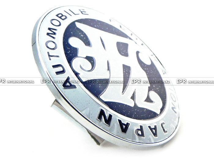 Universal JDM JAF Blue Front Grill Badge 90MM Diameter METAL BASE PLASTIC