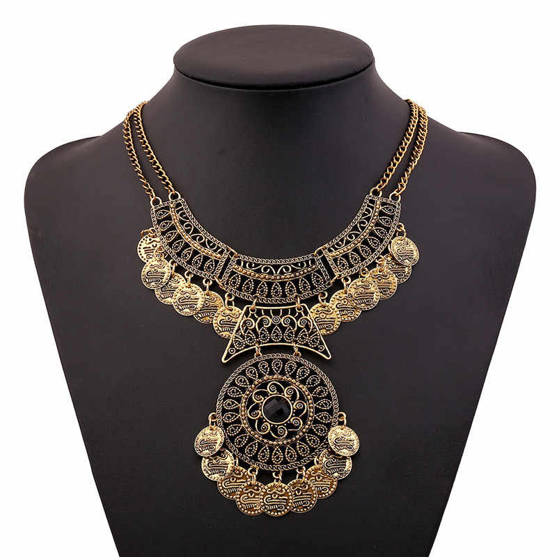 SUSENSTONE Women Bohemian Festival Jewelry Double Chain Coin Statement Necklace Punk Rock Style Necklace Indian Ethnic Necklace