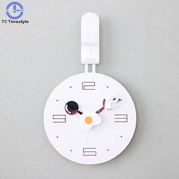 Wall Clock Metal Frying Pan Design Kitchen Decoration Novelty Art Watch Children Personality Living Room Modern Cartoon Acrylic