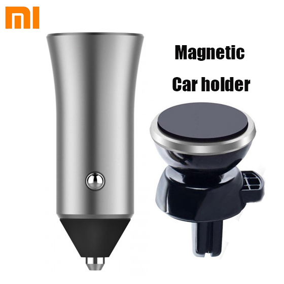 Xiaomi Dual USB Car Charger 18W Quick Charge 3.0 fast charge smart output light tips 12V/1.5A + Magnetic Car cellphone holder-in Car Chargers from Cellphones & Telecommunications