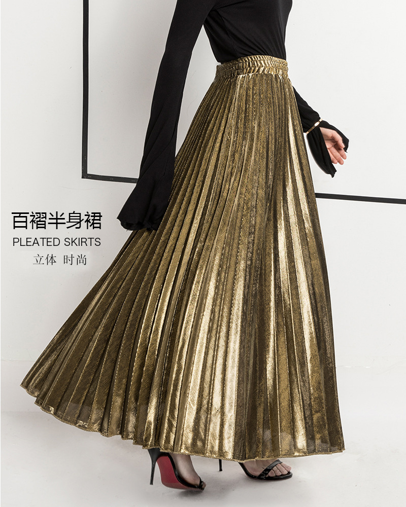 2018 Spring Casual Pleated Skirts Womens plus size skirt Arrival Fashion Long Skirt Velvet High Waist Elastic Solid Women Skirt