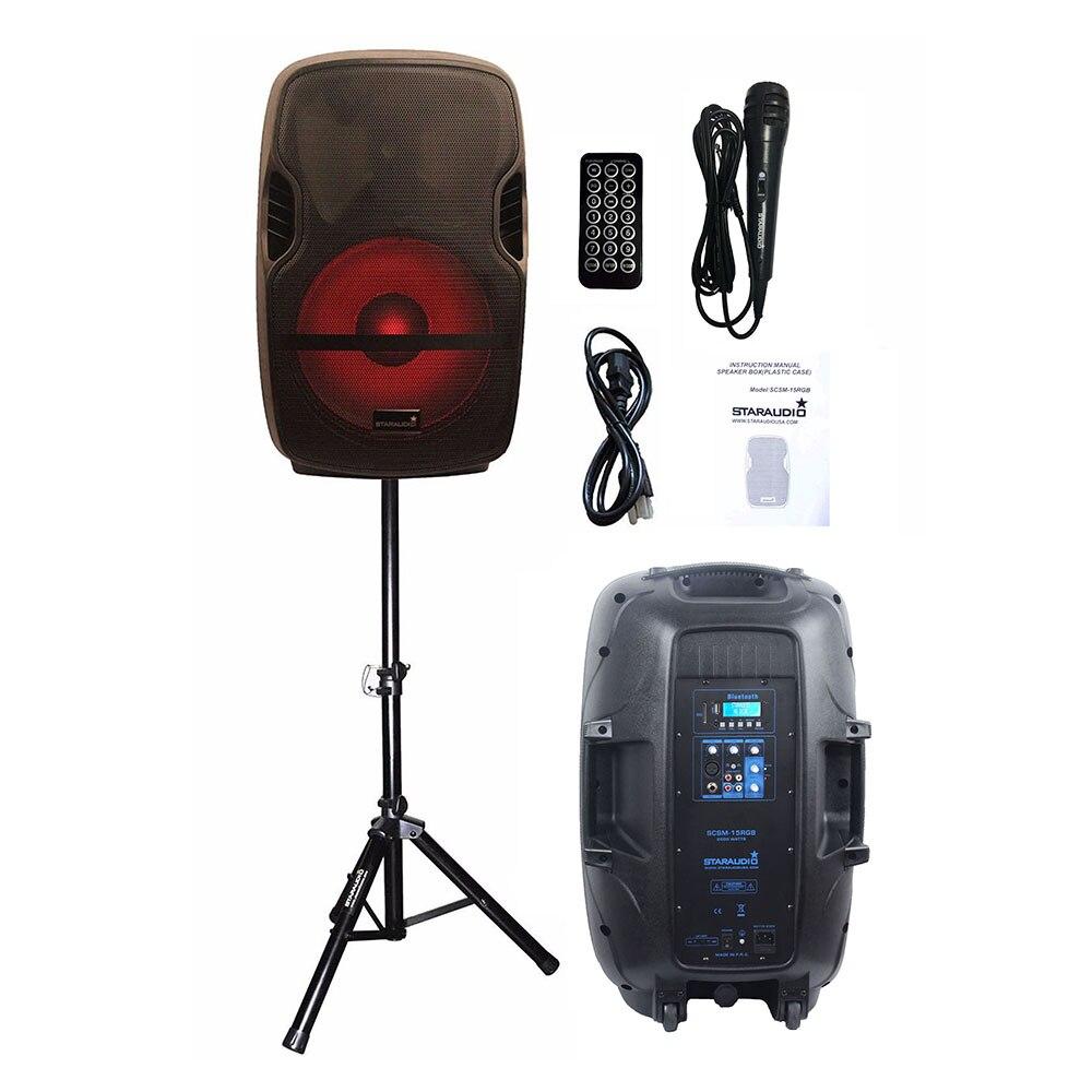 STARAUDIO 15 pouces actif 2000 W PA DJ scène karaoké alimenté Bluetooth haut-parleur lumineux LED PA DJ support filaire Microphone SCSM-15RGB