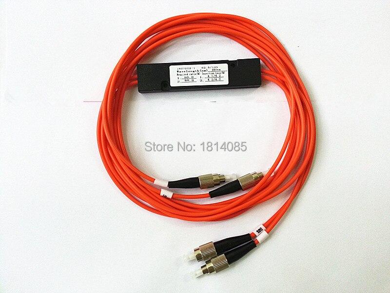 850nm 62.5/125 MM 50/50 rapport de couplage FC/UPC 2x2 FBT coupleur 2*2 FBT séparateur de Fiber optique Multimode