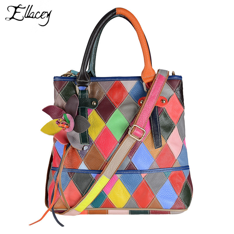 2019 Fashion Women Genuine Leather Handbags Totes Ladies Trend Personality Panelled Shoulder Bags With Colorful Shoulder Strap2019 Fashion Women Genuine Leather Handbags Totes Ladies Trend Personality Panelled Shoulder Bags With Colorful Shoulder Strap