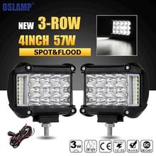 Oslamp 3-Row 4inch 57W LED Work Lights Offroad Led Bar Light Trucks Boat ATV 4×4 4WD 12v 24v Spot Flood Driving Lamp Headlight