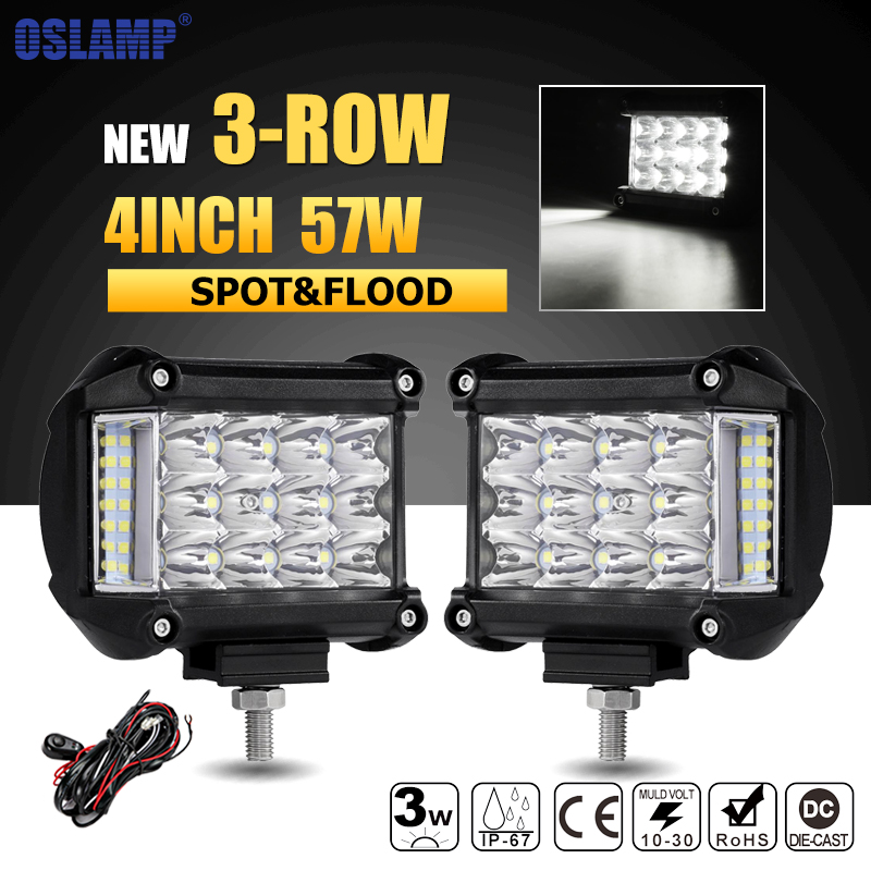 Oslamp 3-Row 4inch 57W LED Work Lights Offroad Led Bar Light Trucks Boat ATV 4x4 4WD 12v 24v Spot Flood Driving Lamp Headlight