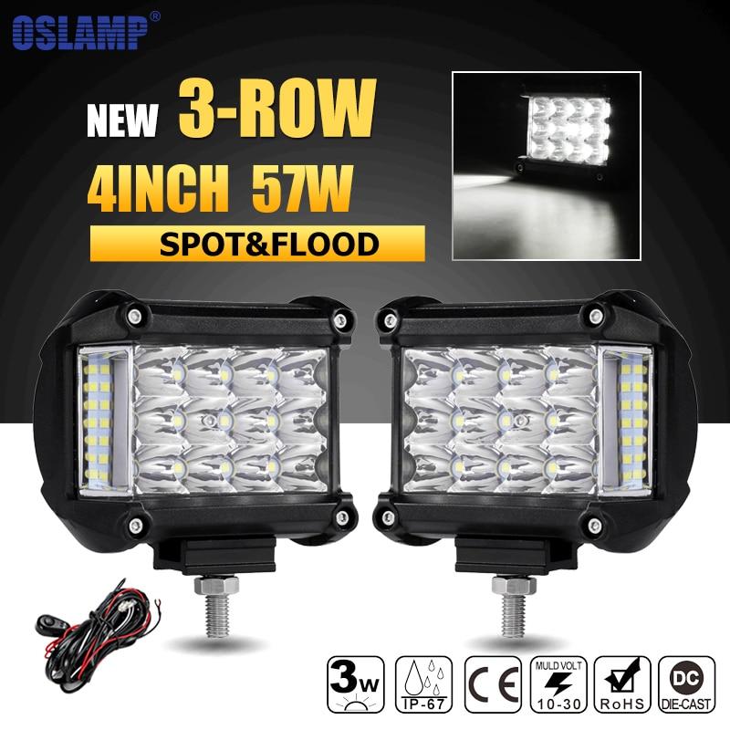 Oslamp 3-Row 4inch 57W LED Work Lights Offroad Led Bar Light Trucks Boat ATV 4x4 4WD 12v 24v Spot Flood Driving Lamp Headlight
