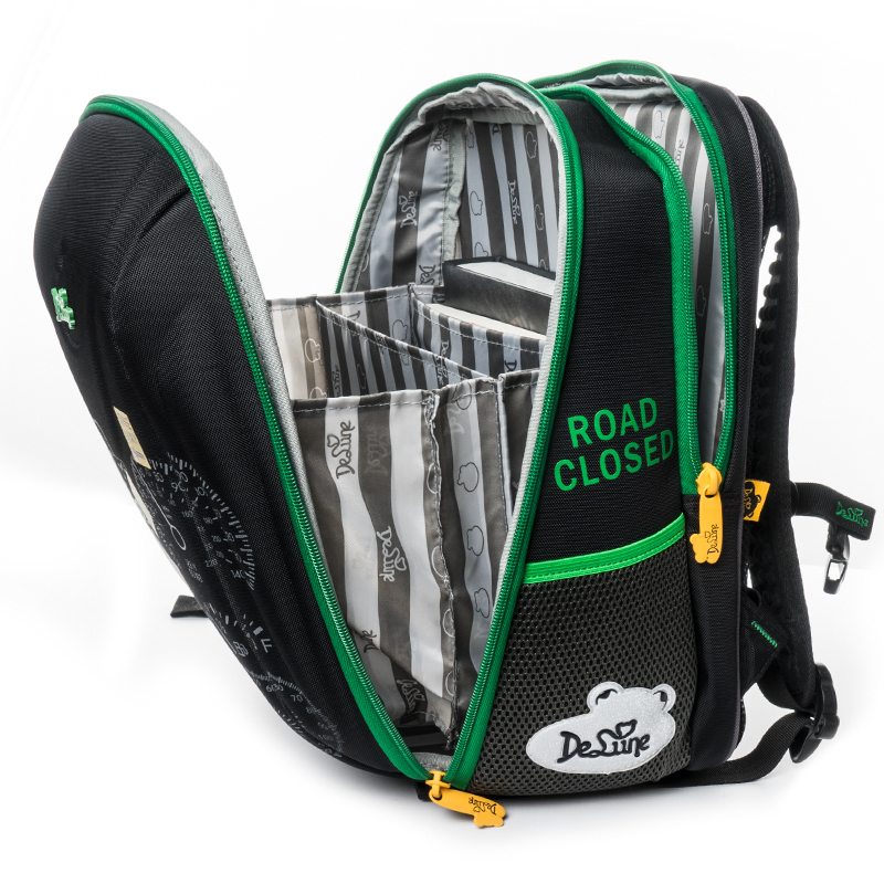 Delune Brand High Quality Kids Green School Bags For Boys Cartoon Cars Orthopedic Backpack Satchel Children's Fashion SchoolBags