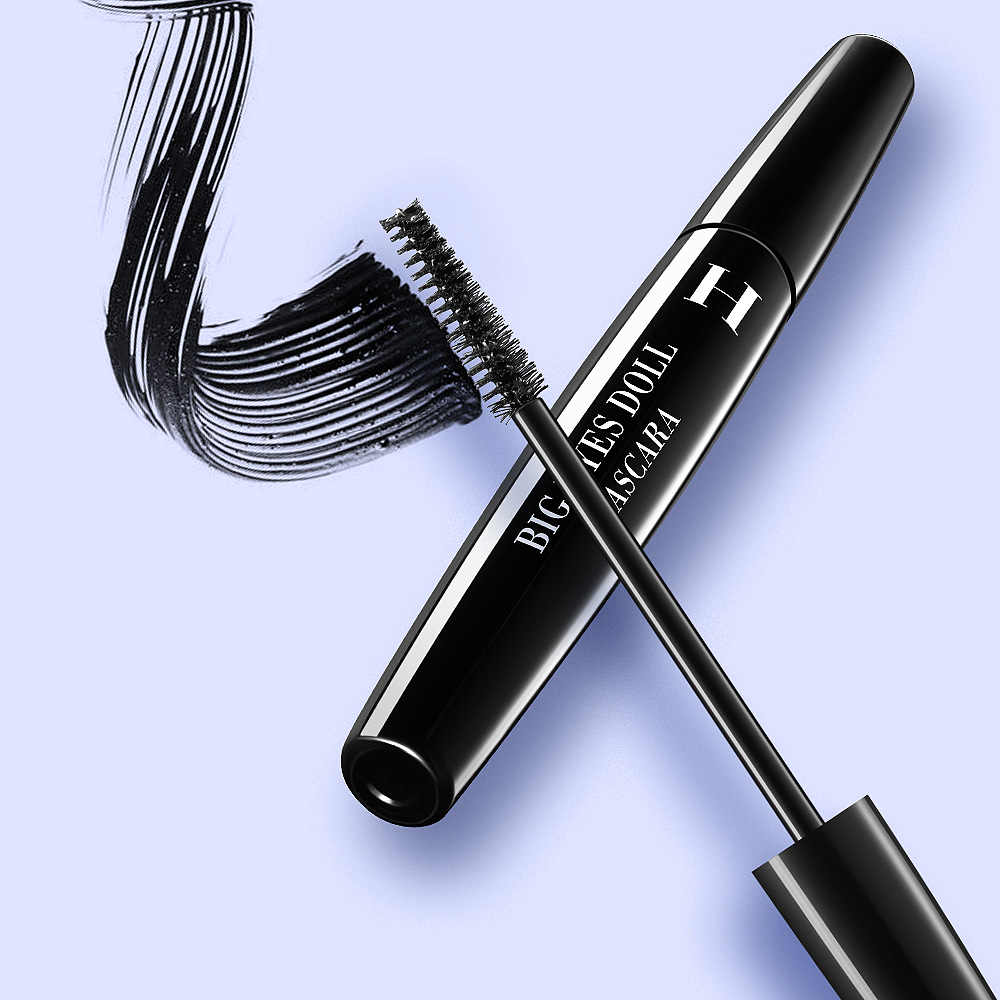 HENLICS 4D الألياف الرموش ماسكارا سوداء سميكة مقاوم للماء الشباك ريميل فرنسا ماركة يشكلون الماسكارا حجم إطالة الحبر الأسود