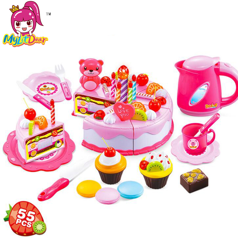 Mylitdear Colorful Miniature Food Cut Cupcake <font><b>Toy</b></font> 55PCS Plastic Fruit Food <font><b>Toys</b></font> For Girls <font><b>Kitchen</b></font> Pretend Play <font><b>Set</b></font> For Kids image