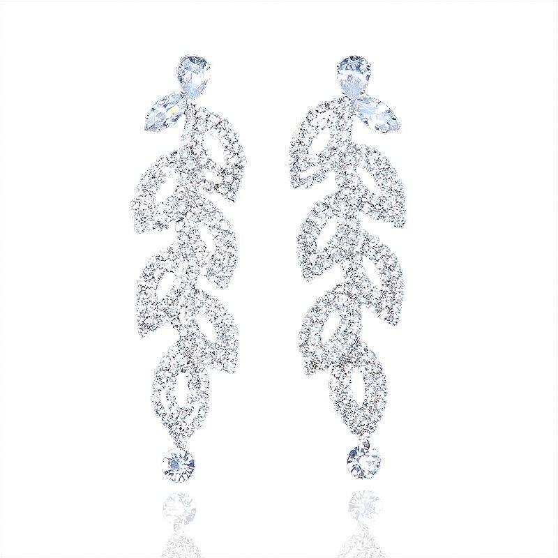 StoneFans Leaf Laminated Wedding Dangle Earrings for Women or Bridesmaids  Bling Earring Drop Earrings Zircon For 9cfe689cac50