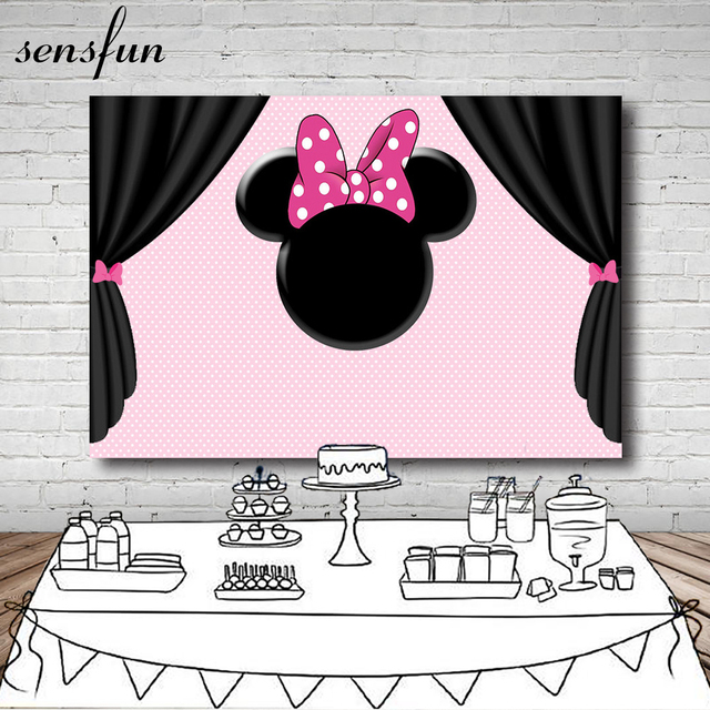 sensfun pink white polka dots minnie backdrop black curtain bow