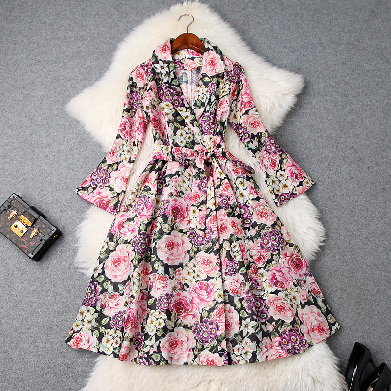 Women's floral print elegant trench dress notched collar flare sleeve ball gown dresses new 2019 spring summer