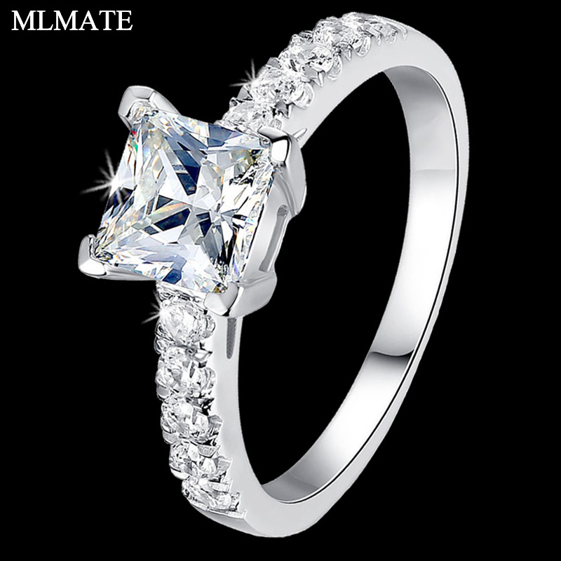 Femmes princesse coupe Halo 1 Carat cubique zircone CZ SONA Solitaire solide 925 Sterling argent bague de fiançailles de mariage
