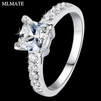 Women Princess Cut Halo 1 Carat Cubic Zirconia CZ SONA Solitaire Solid 925 Sterling Silver Engagement Wedding Ring