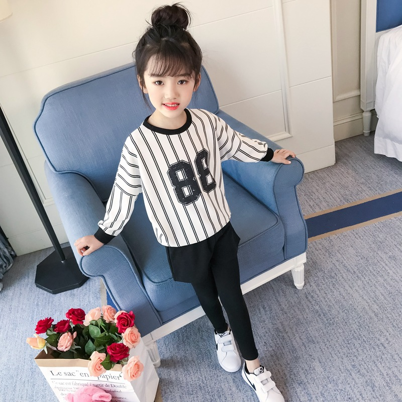 Kids Clothes Set For Girls 4 5 6 7 8 9 10 11 12 13 Years 2018 Spring Baby Girl Clothing Print Long Sleeve T Shirt + Skirt Pant children s girls summer short sleeve sports suit clothes set for girl print clothing sets 4 6 7 8 9 10 12 13 14 years old