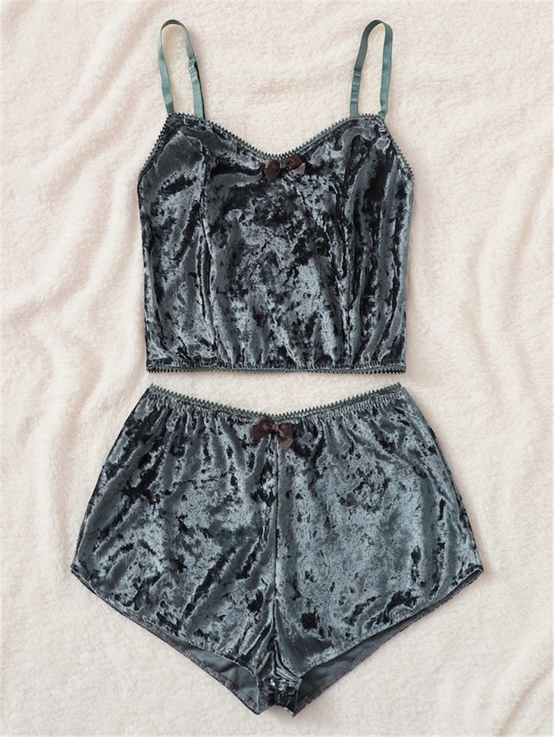 Fashion Women's Underwear Sexy Sleeveless Lingerie   Pajamas   Velvet Crop Tops Bralette Panty   Sets