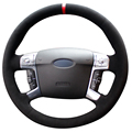 XuJi Black Suede Red Marker Car Steering Wheel Cover for Ford Mondeo Mk4 2007-2012 S-Max 2008