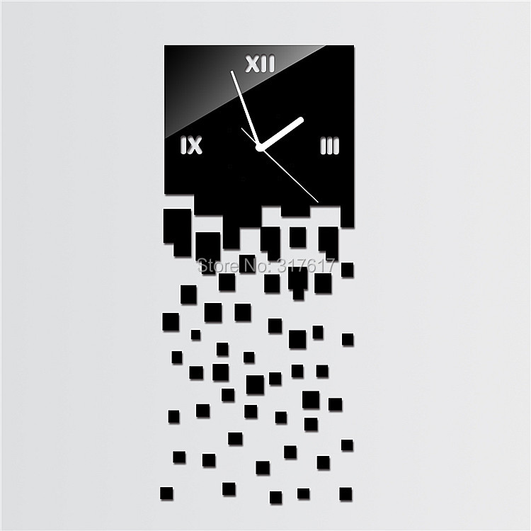 Luxury Black Squares 3D Wall Clock Home Decoration Crystal Mirror Clocks Diy Clcok In From Garden On Aliexpress