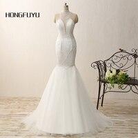 100% Real Photo Mermaid High Neck Tulle Beading Long Prom Dresses 2018 Beauty White Sleeveless Floor Length Prom Dress SML41203