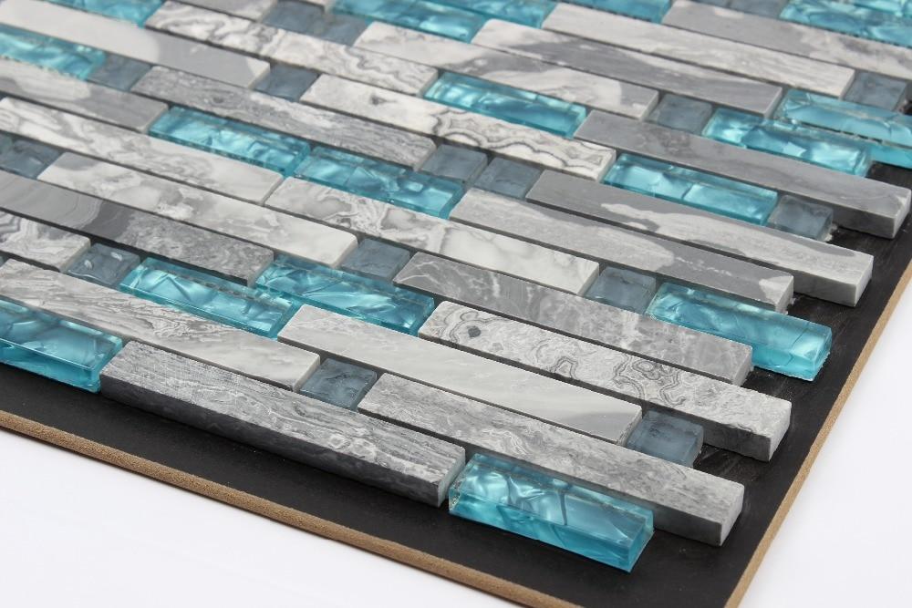 Blue glass tile kitchen backsplash tile grey stone mosaic ...
