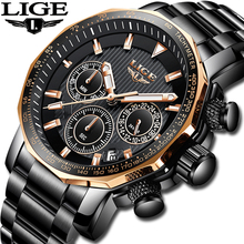 LIGE Mens Watches Top Brand Luxury Military Sport Watch Men Stainless Steel Waterproof Clock Quartz Watch Relogio Masculino+Box men watches lige top brand luxury full steel quartz watch men casual waterproof military sport watch male relogio masculino box