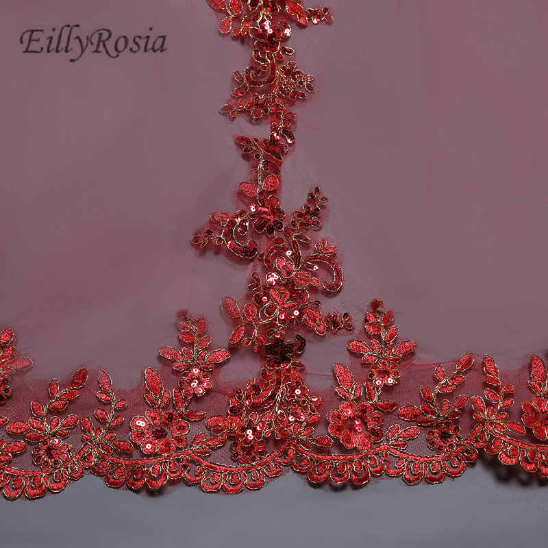 New Arrival Red Bridal Veils Long 3M Cathedral Wedding Veils Luxurious Lace Appliques Edge One Layer High Quality velo de novia