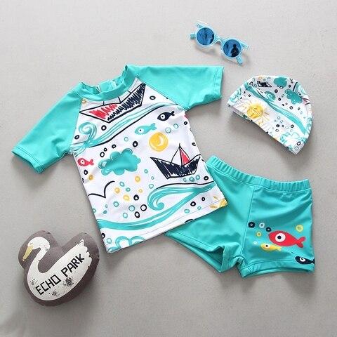 roupa de banho dos miudos meninos maio duas pecas rash guards natacao troncos nadar conjunto