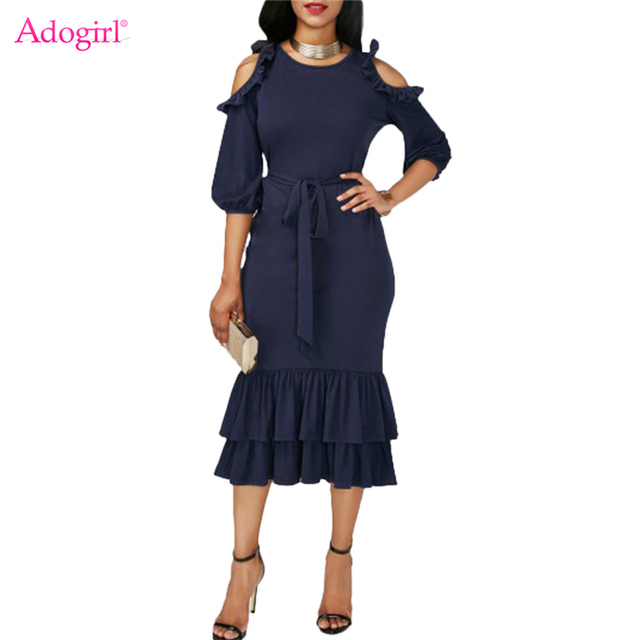 d9c3f4128e5d5 Adogirl Stylish Cold Shoulder Lantern Sleeve Layered Ruffle Mermaid Dress  Navy Blue Women Midi Party Dresses Sashes Vestidos