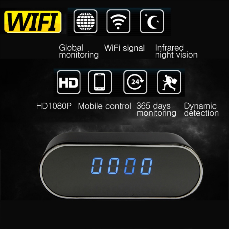 HD WIFI Mini Camera Clock Night Vision Clock Alarm P2P Livecam IR Smart Camcorder Wifi Remote Control Support TF card Webcam