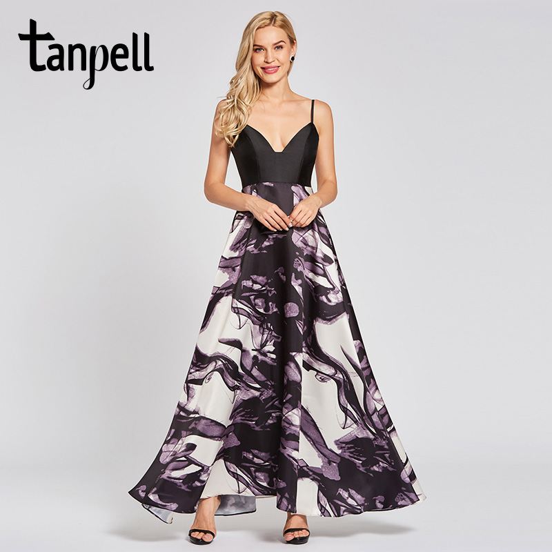 Tanpell long evening dress black spaghetti straps sleeveless floor length a line dresses women party prom