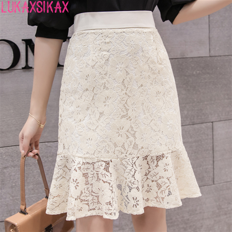 LUKAXSIKAX Fashion 2018 Summer Women Skirt High Quality Lace Skirt Korean Style Sweet High Waist Mermaid Skirt Streetwear