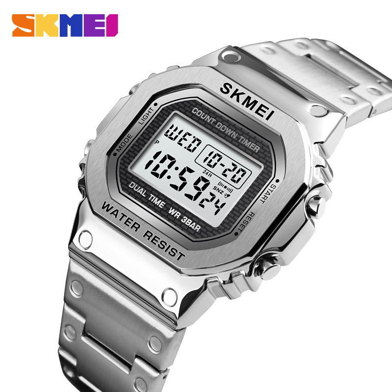SKMEI Sport Watch Men G-Style LED Digital Watches Full Steel Shock Waterproof Chronograph Alarm Clock Outdoor Men's Wristwatch(China)