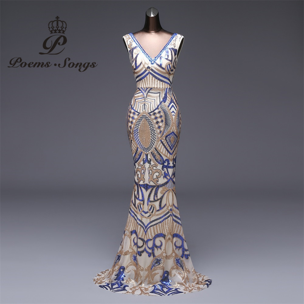 Poems Songs 2018 New Double-V Elegant Long Evening Dress vestido de festa  longo Sexy Backless Luxury Gold Long Sequin Colorful 6e17783a3aac