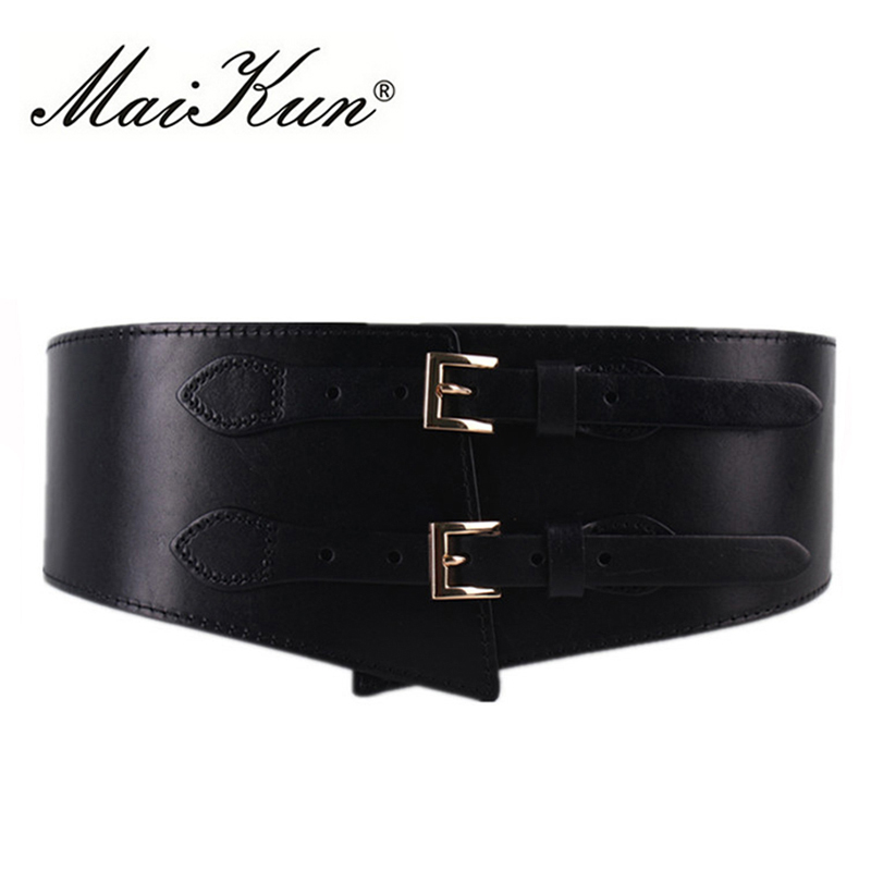 MaiKun Wide Belts For Women Luxury Cowhide Double Retro Pin Buckle Women Belts For Dress Female Waistband