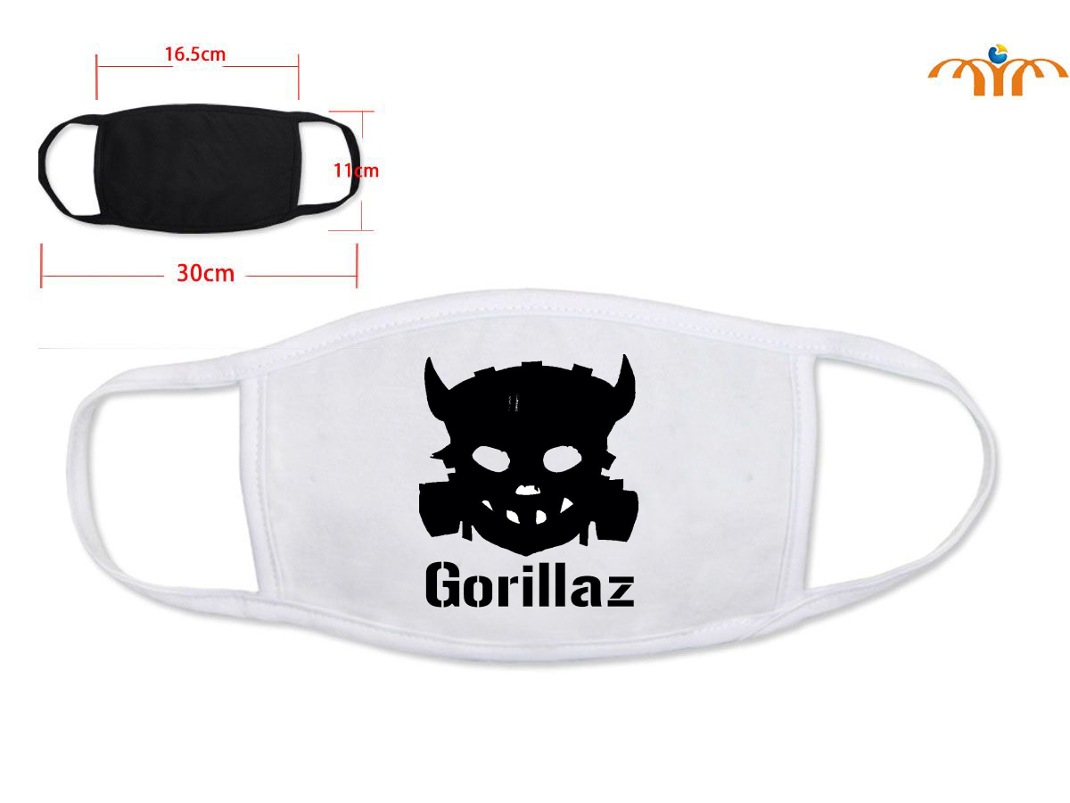 Giancomics British Band Gorillaz Half-Face Varied Cartoon Pattern Mouth-muffle Cotton Washable Trendy Mask Respirator Decor