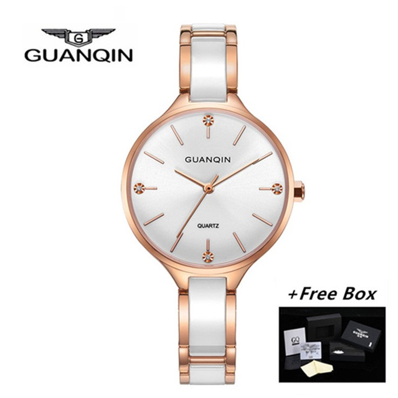 все цены на GUANQIN Women Watches Ceramic Dress Small Ladies Watch Waterproof Fashion Gold Quartz Wristwatch relogio feminino dropshipping